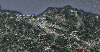 Bizkaiko mapa, instalazio kutsakorren kokapenarekin