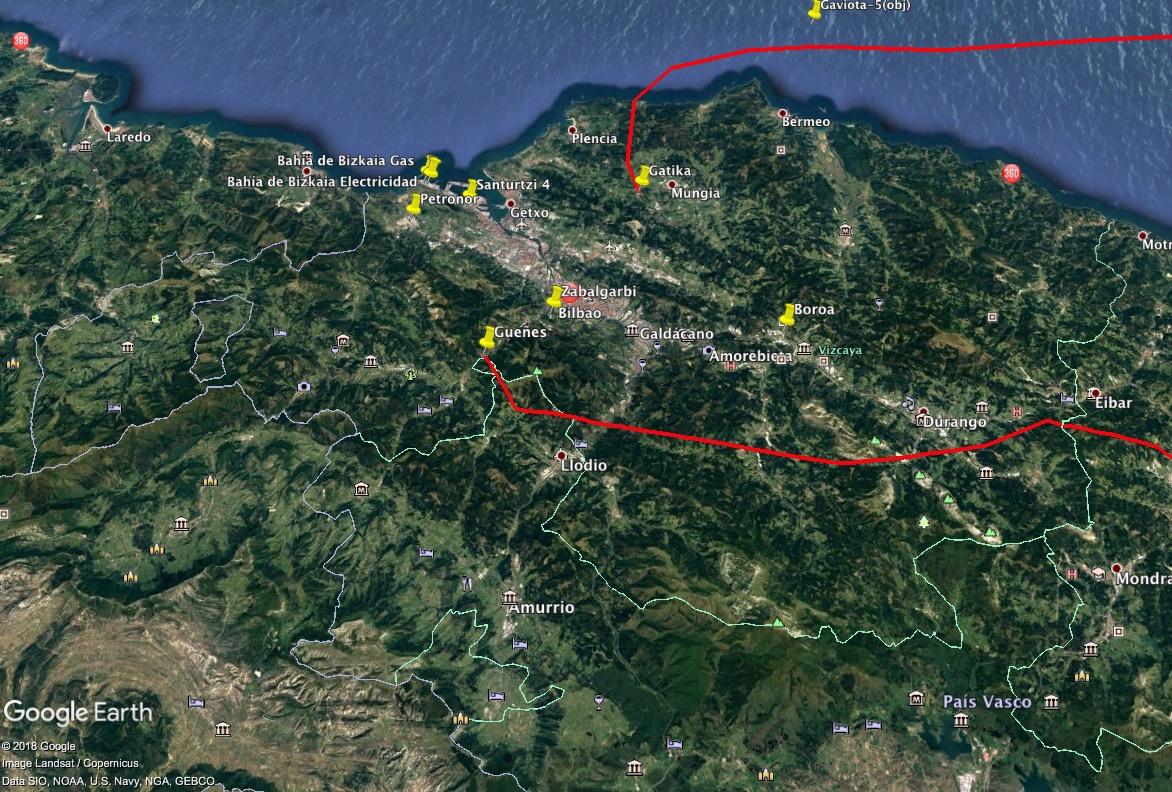 Mapa de Bizkaia, con la localización de infraestructuras de energías sucias